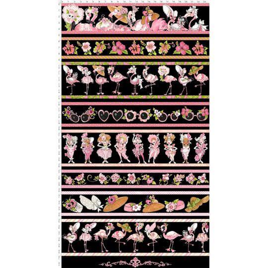 【Loralie Designs】- Flam Borders Black Fabric Panel-(ULH-195)