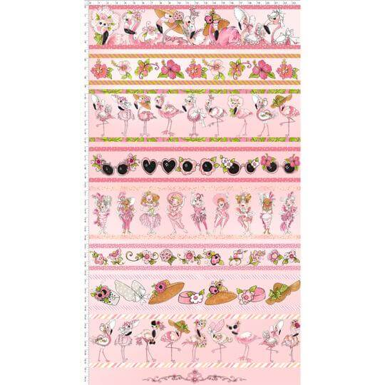 【Loralie Designs】- Flam Borders Pink Fabric Panel-(ULH-196)