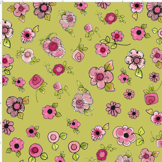 【Loralie Designs】-Parlor Posies Green Fabric-(ULH-204)
