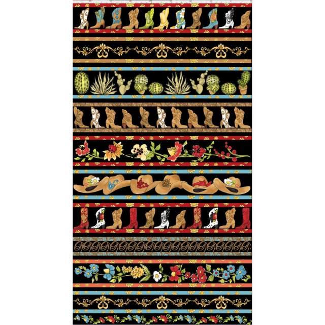 【Loralie Designs】-Whoa Borders Fabric Panel / Black -(ULH-210)