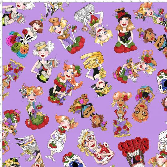 【Loralie Designs】-Curious Toss Purple  Fabric -(ULH-218)