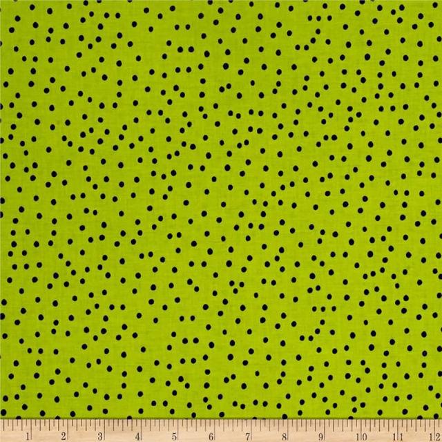 【Loralie Designs】-Dinky Dots Lime/Black -ドット柄(ULH-237)ライトグリーン系