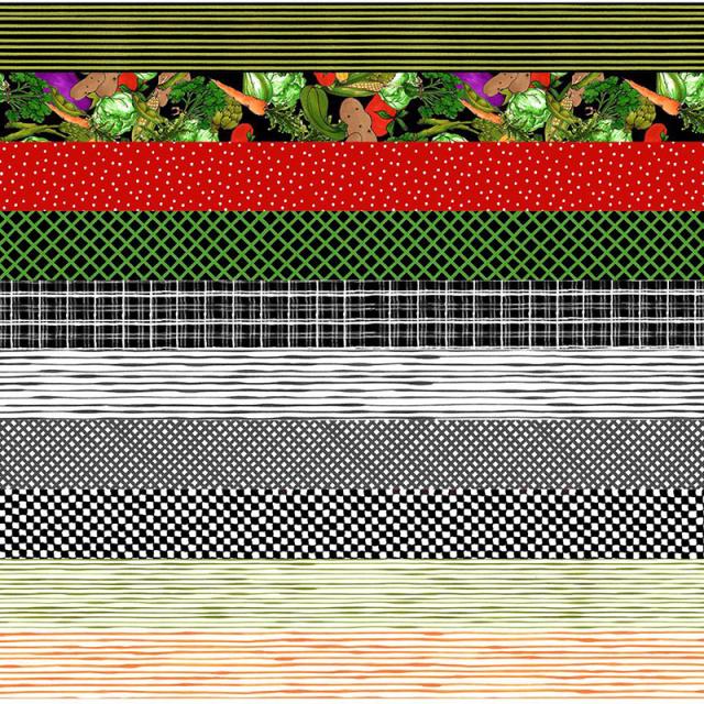 【Loralie Designs】Medley Fun Chefs Strip Fabric Panel(ULH-243)