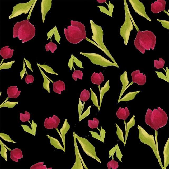 【Loralie Designs】Tulip Toss Black (ULH-261)