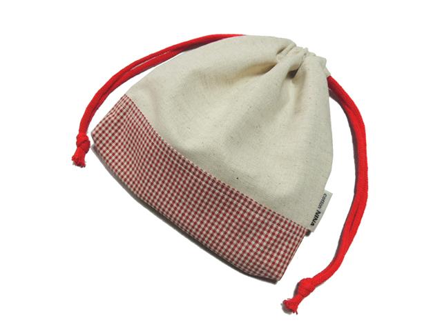 ツートン両絞り巾着袋