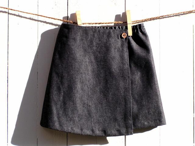 子供デニムラップ風スカート