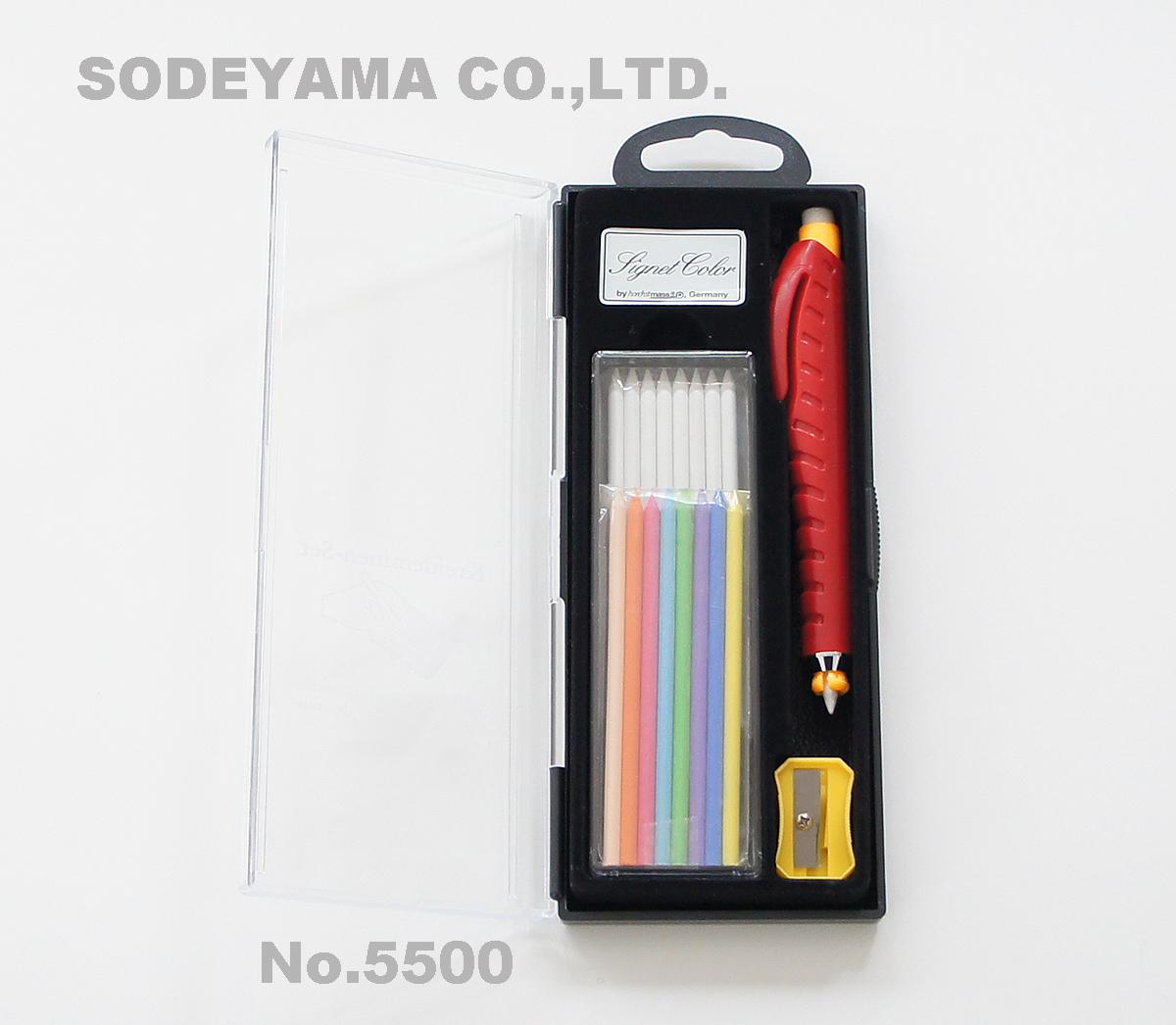 5500 チャコペルシャーペン式白/9本(本体分含む)黄・青・紫・緑・空・桃・橙・肌/各色1本本体寸法長さ125mm