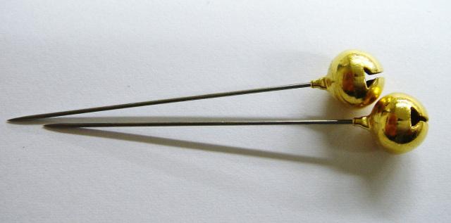 6765 リンリン(鈴付)待針20本針長:40mm全長50mm太さ:0.53mm