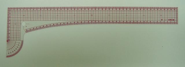 2311 方眼L尺透明15cmx50cm分度器付