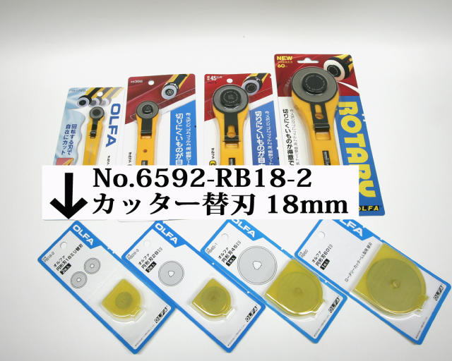 6592 ロータリーカッター替刃18mm2枚入RotaryCutterSpareBladeLL型オルファ