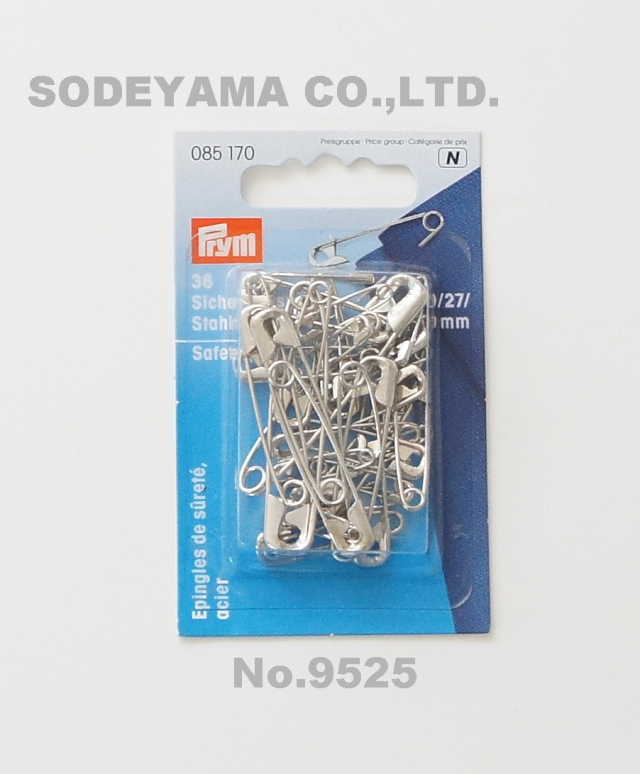 9525 PRYMプリム・ドイツ・安全ピン(シルバー)36本セット4種類入り