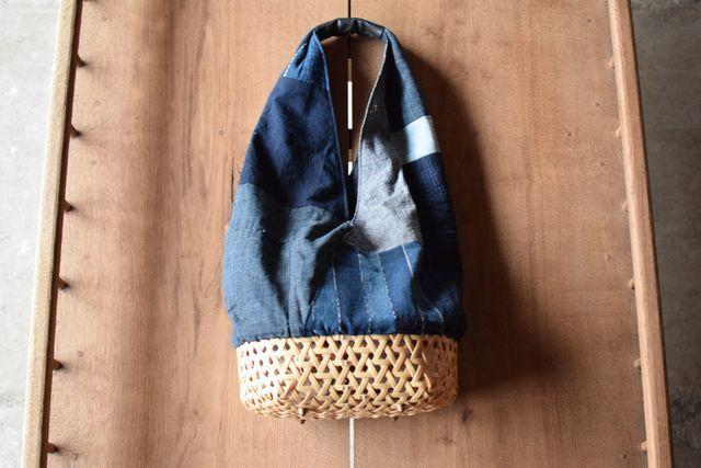 古布木綿のカゴバッグ