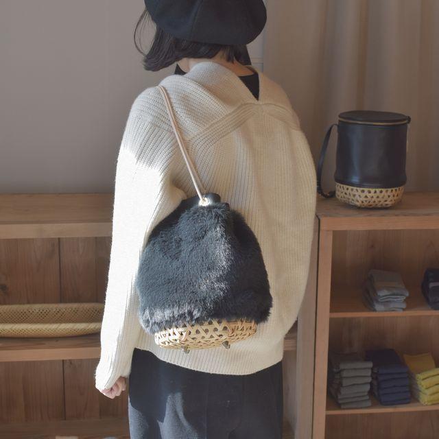 Crafty巾着カゴバッグ竹細工