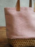 竹とシャンブレーのカゴバッグ