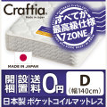 日本製 ポケットコイル マットレス メリノウール ダブル