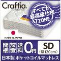 日本製 ポケットコイル マットレス メリノウール セミダブル