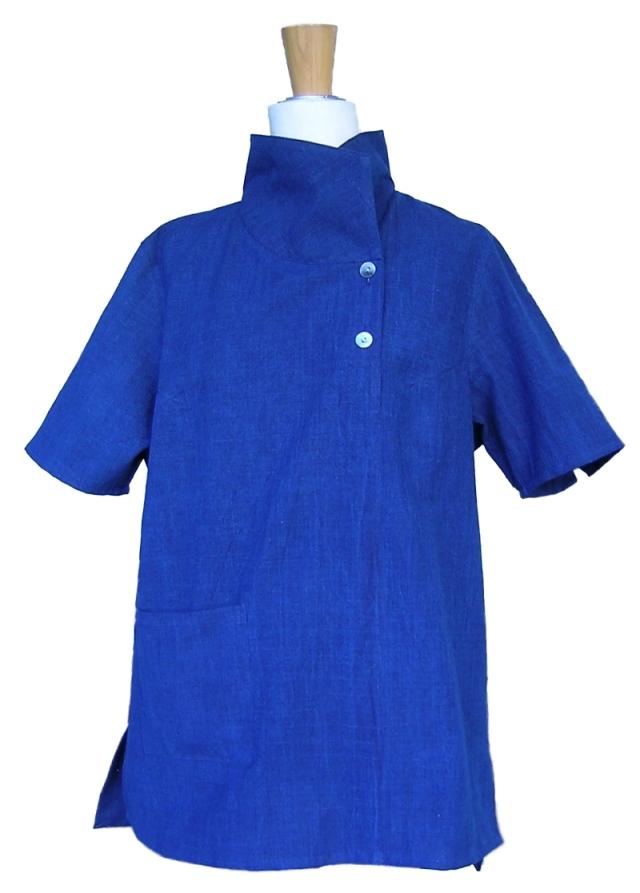 2019藍半袖ブラウス衿双立て
