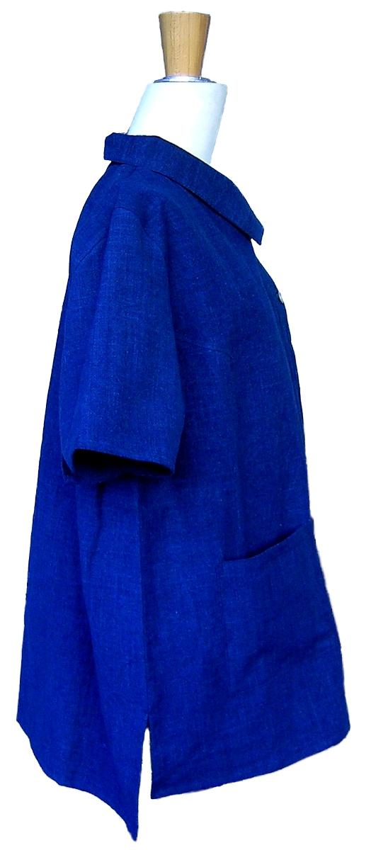 2019藍半袖ブラウス側面