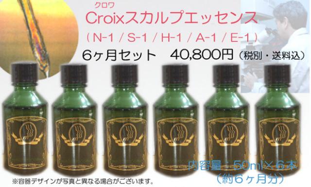 頭皮のマッサージ施術用ヘアエッセンス :Croixスカルプエッセンス 6か月分セット 50ml×6本