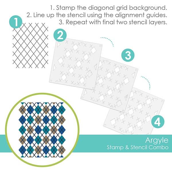 テイラードエクスプレッション Argyle Stamp & Stencil Combo