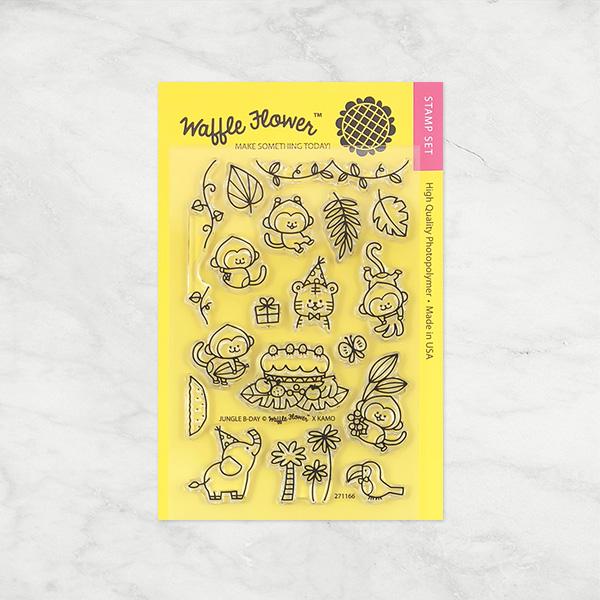 ★在庫限りで販売終了★【ワッフルフラワー/waffle flower】クリアスタンプ -Jungle Birthday