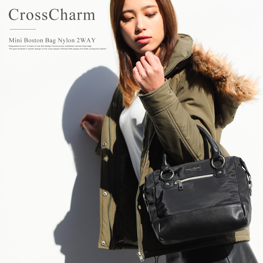 CrossCharm 高密度ナイロン2wayミニボストンバッグ