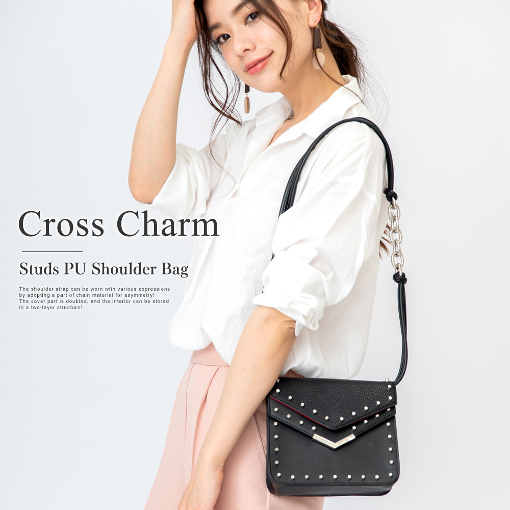 Cross Charm  スタッズ PUショルダーバッグ 【CSG90049】