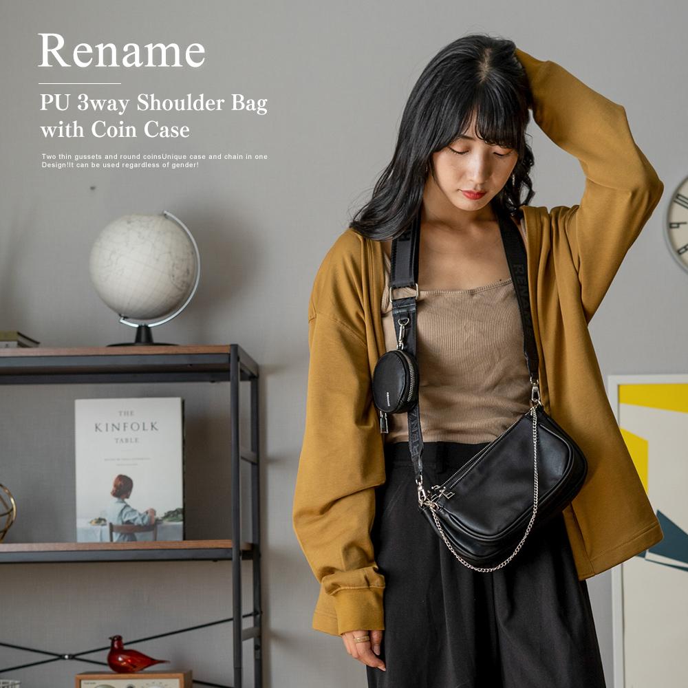 Rename PU コインケース付き 3WAYショルダーバッグ