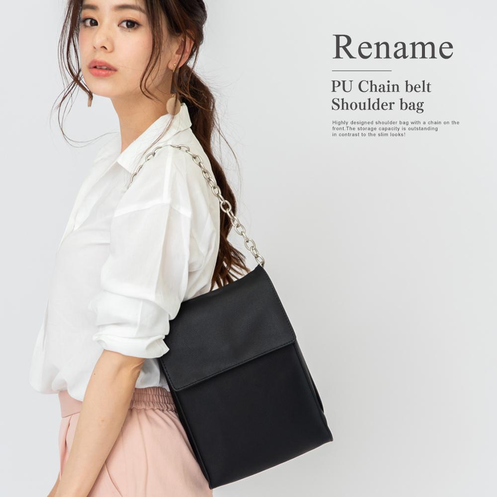 Rename PU チェーンベルト ショルダーバッグ