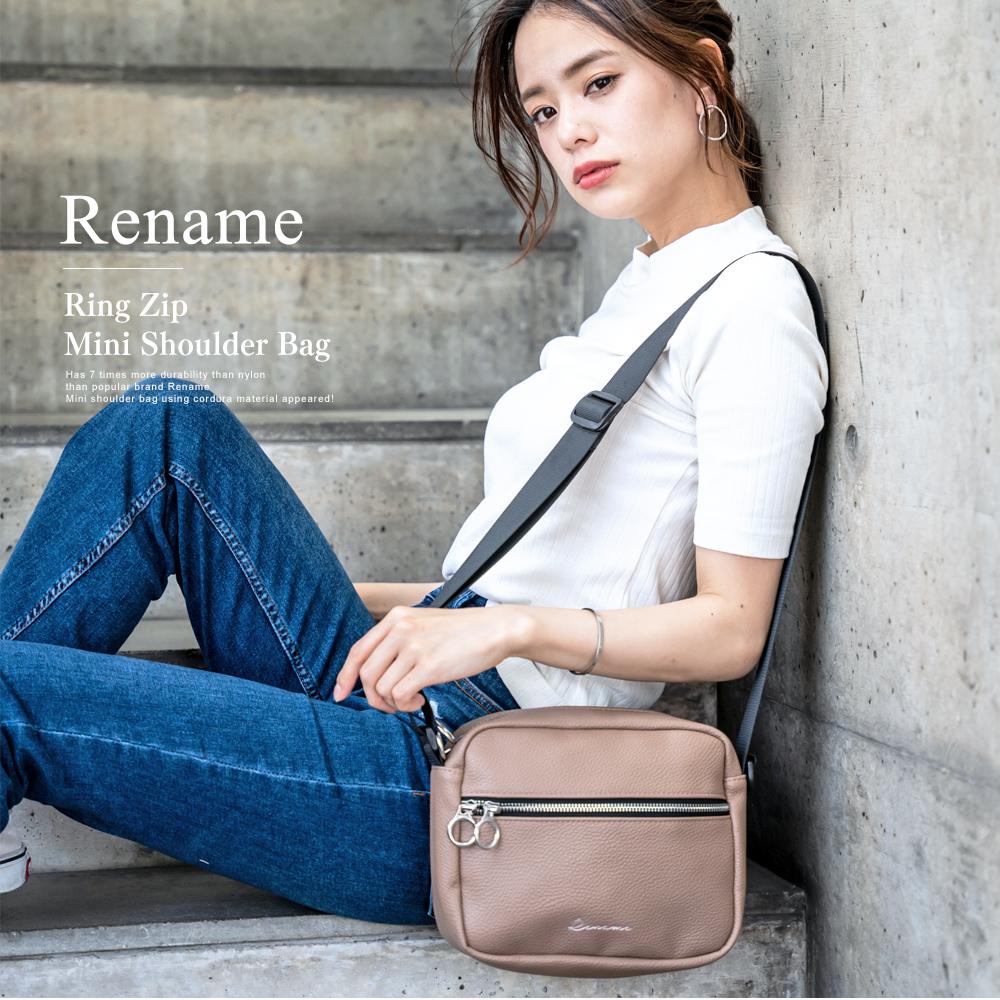Rename 合皮 リングジップミニショルダーバッグ【RSG91029】