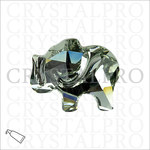 スワロフスキー #2835 Elephant Flat Back ブラックダイヤモンド