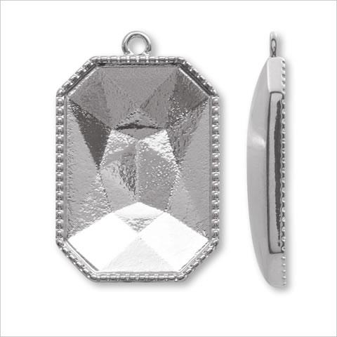フェリドグルー粘土土台 八角長方形 ロジウムカラー