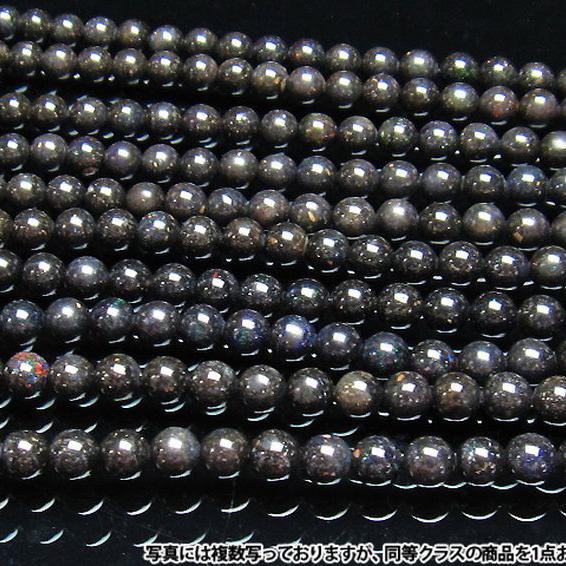 ブラックオパール 一連 ビーズ 8.5mm 《rv》[H54-13]