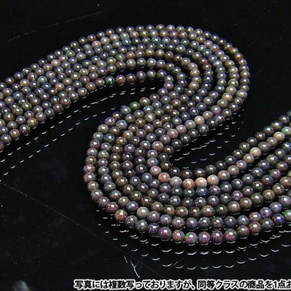 ブラックオパール 一連 ビーズ5mm 《rv》 [H54-14]
