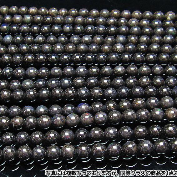 ブラックオパール 一連 ビーズ9mm 《rv》[H54-30]