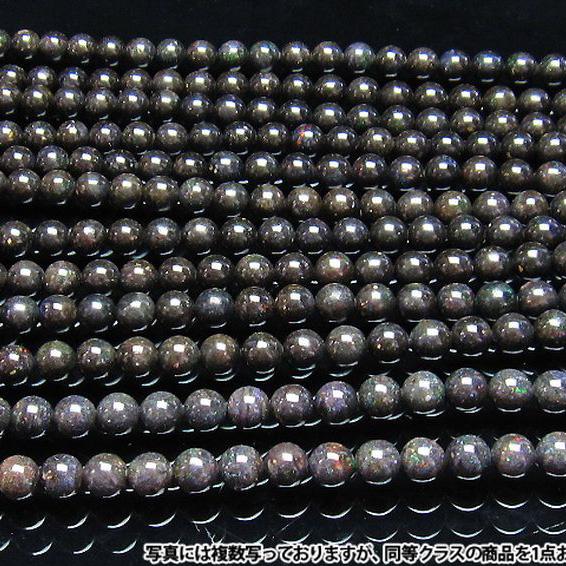 ブラックオパール 一連 ビーズ 9.5mm 《rv》[H54-31]