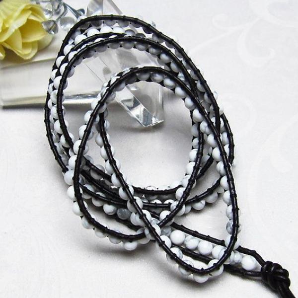 トルコ石3重ブレスレットネックレス兼用可4mm