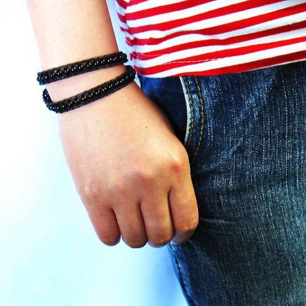 オニキス3重ブレスレットネックレス兼用可4mm