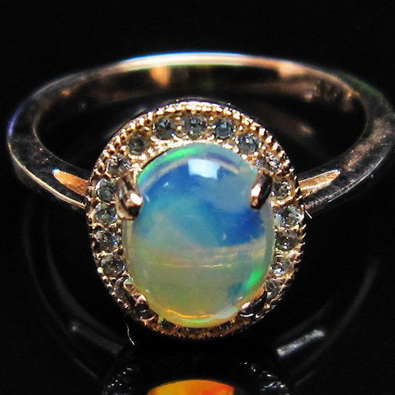 画像現物/★セット割対象品!★ プレシャスオパール 指輪 10号  precious opal [L388-138]