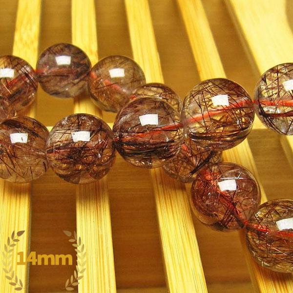 金針ルチル水晶 ブレスレット 14mm [L9-1139]