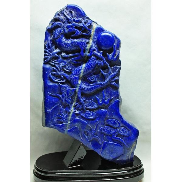 ★セット割対象品!★ 3.3Kg ラピスラズリ 手彫り 龍 置物 [M170-88]