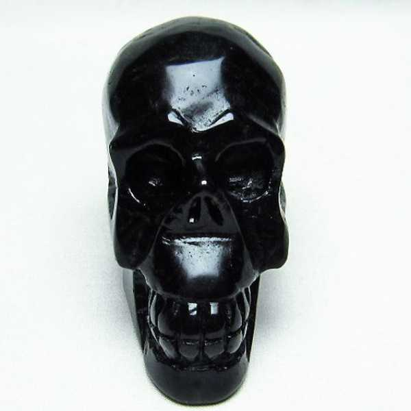モリオン 純天然 黒水晶 ドクロ 置物[T130-1986]