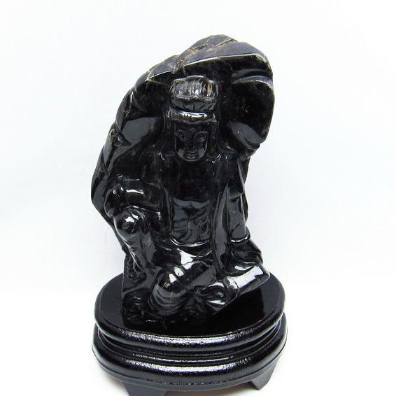 1.2Kg モリオン 純天然 黒水晶 手彫り 観音 置物[T130-2071]