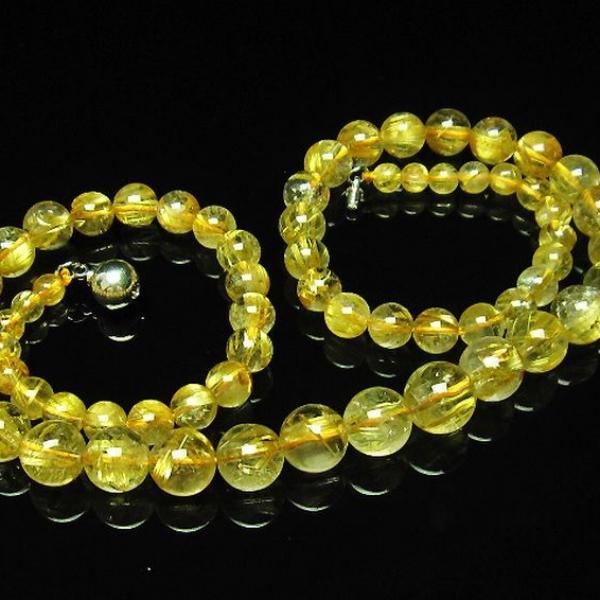 ゴールドタイチンルチル ネックレス 5mm [T162-464]