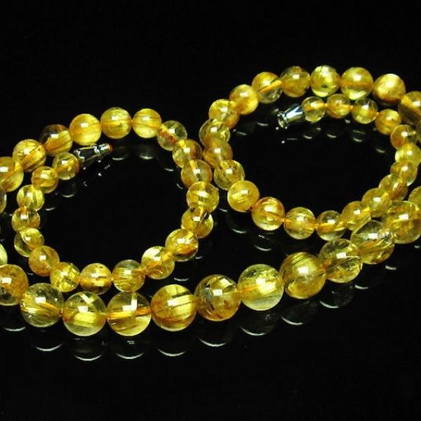 ゴールドタイチンルチル ネックレス 6mm [T162-472]