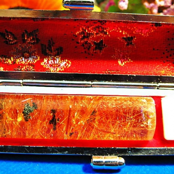 豪華金針ルチル水晶 印材 ※別途料金で篆刻可能 15mm [T44-633]