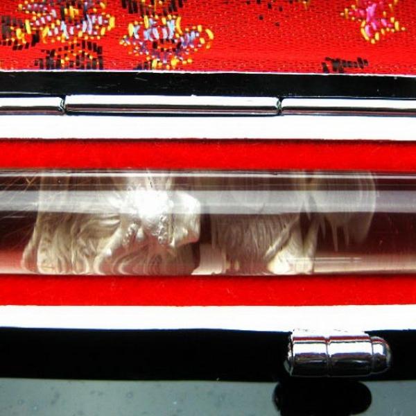 ルチル水晶 中彫り 龍 印材 12mm ※別途料金で篆刻可能[T45-65]