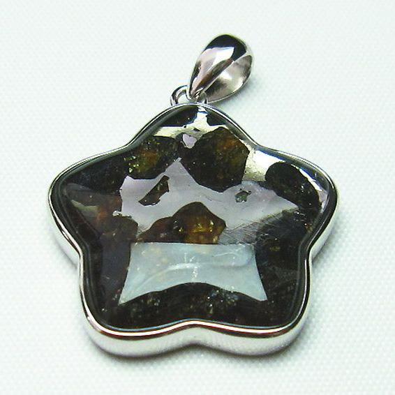 パラサイト隕石 かんらん石 ペンダント [T453-2828]