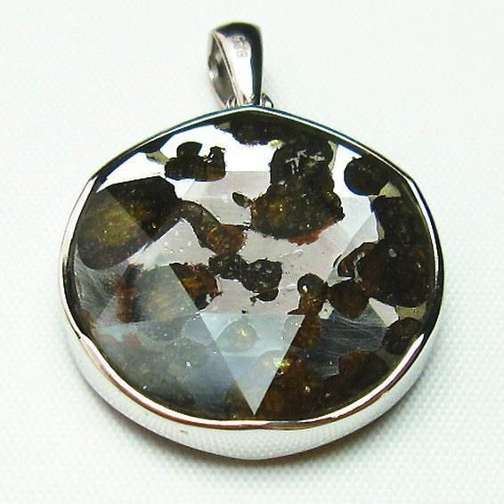 パラサイト隕石 かんらん石 大衛星 ペンダント [T453-2902]