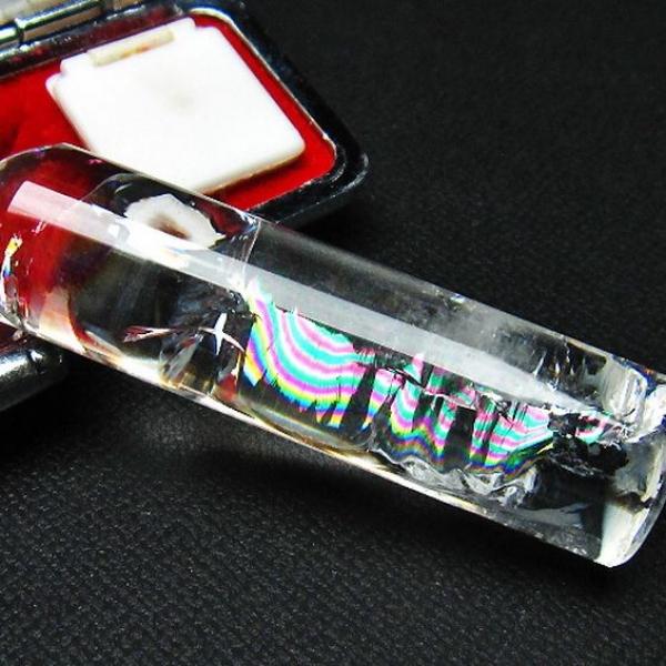 虹入り ヒマラヤ水晶 印材 ※別途料金で篆刻可能 14mm [T607-188]